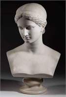 "Lawrence MacDonald (1799-1878) marble bust of Diana, signed and dated ""1868"", from the estate of Maury Hanson, Lexington, VA"