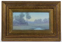 "Rookwood scenic vellum plaque by Leonore Asbury (1866-1933), in original frame with typed label verso giving title as ""The Pool"""