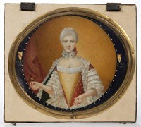 "Signed Pierre Noel Violet (French, 1749-1819) miniature portrait of a lady, inscribed ""CBF"" and dated ""1784"""
