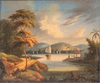 One of a pair of Chinese Export oil on canvas landscape paintings (c.1860) attributed to Youqua (act. 1840-1880), each retaining original artist's label attached verso and possibly original frame