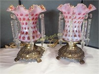 Pair of Fenton Lustre Style Lamps