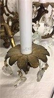 Vintage Brass & Crystal Chandelier approx 21x24