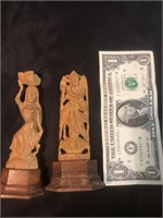 Two Hand Carved Wooden Figurines