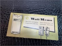 Wall Memo for Wall Telephones
