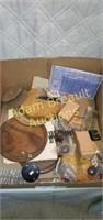 Box lot - wood clock making accessories