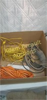 Assorted extension cords and power strip