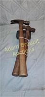 3 vintage wood handle hammers, mallet