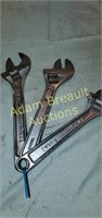3 crescent 8 in wrenches, made in USA & Taiwan