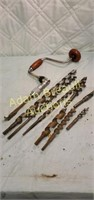 Vintage brace and bit with assorted bits
