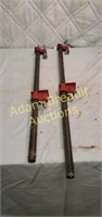 24 inch and 27 inch pipe wood vises