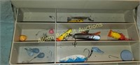 Vintage Woodstream 72 tackle box and assorted