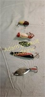 5 assorted vintage fishing lures - wooden plug,