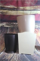 Lot of 3 Small Garbage Cans Metal Wood Plastic