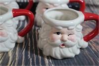 Set of 4 Vintage Santa Mugs