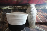 Cloth Basket and Wicker Vase