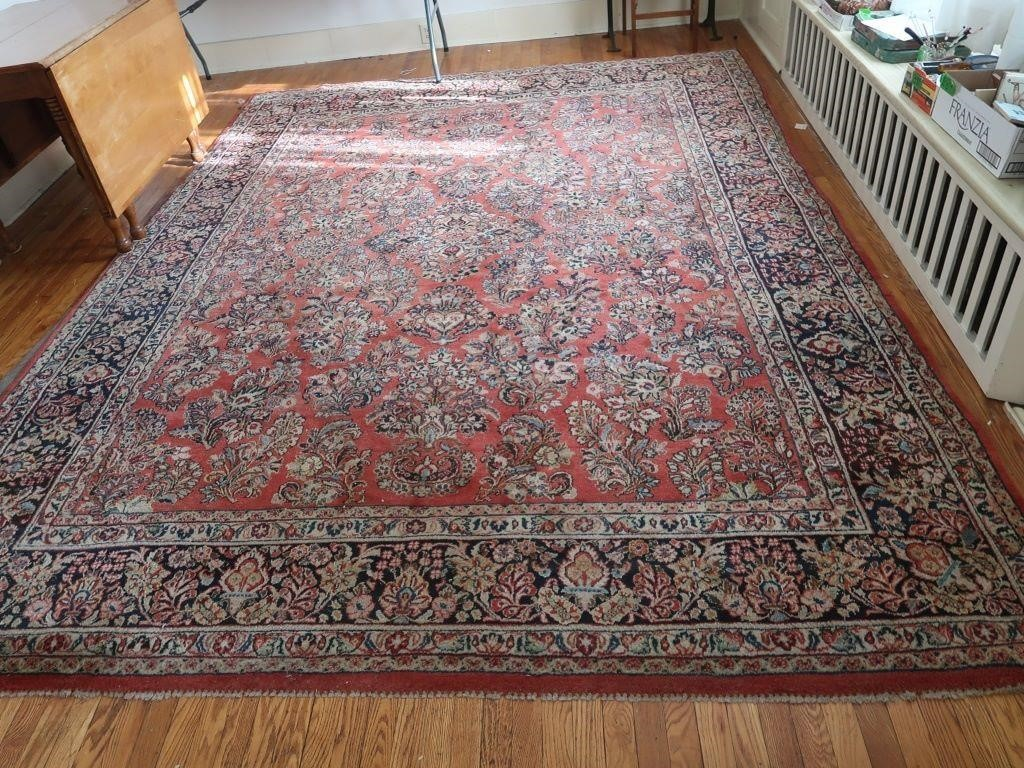 Persian Sarouk Wool, Hand Knotted Area Rug, 1930's