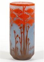 "Schneider Poissons cameo art glass 9"" vase"