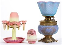 Selection of fairy lamps and other Victorian lighting