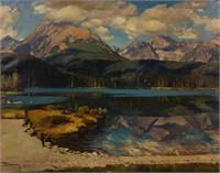 "Joseph Boksay (Ukranian, 1891-1975) oil on canvas mountain landscape of impressive size, dated 1938, 36 1/2"" x 46 1/2"" sight"