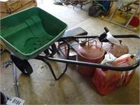 Sta-Green Lawn Spreader/ Seeder, Fuel Cans, etc.
