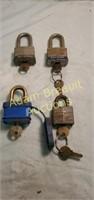 4 padlocks and keys, 3 Master Lock