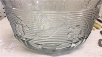 Large Glass Serving Bowl, Steak Knives and