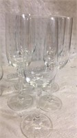 5 Crystal Wine Glasses and 4 Glass Wine Glasses