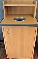 Laminated trash receptacle with tray rack