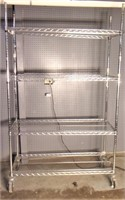 Chrome shelf unit, wheels, 18x48x75