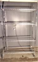 Chrome shelf unit, wheels, 18x48x76