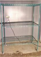 Green shelf unit, wheels, 24x48x62