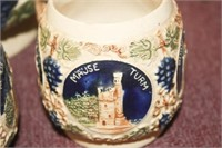 """Wassail Bowl w/3 Mugs; """"Made in Germany"""""""