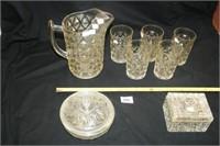 """Mt Vernon"" Pitcher and 5 glasses; etc…"