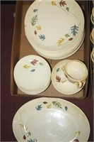 Franciscan Pottery with Leaves; Some chips