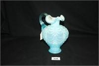 Fenton Blue Glass Vase; No Chips; Sticker