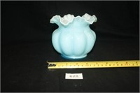 Fenton (Per Seller) Blue Ruffled Vase