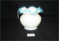 Fenton (Per seller) White Ruffled Vase w/blue