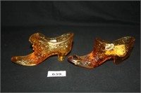 "Amber Glass Slippers; Both 5½"" long"