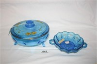Blue Glass Candy Dishes; Painted flower lid