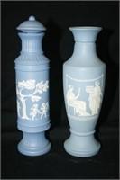 Blue Avon Glass Bottles; Vases; Soap Dish