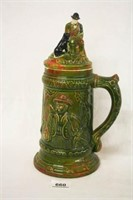 Ceramic Stein with Hunter, Dog and Elk