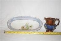 """Haviland"" Oval Rose Dish 12""; ""Lustre"""