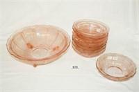 "Pink Glass ""Cherry Blossom"" Pattern"