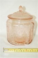 "Pink Glass ""Royal Lace"" Pattern Cookie Jar"