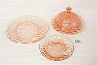 "Pink Glass ""Cubist"" Butter Dish; 2 Plates"