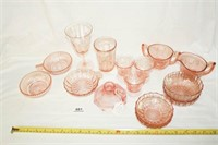 """Pink Glass Various Patterns; """"Queen Mary"""""""