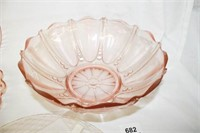 """Pink Glass Various Patterns; """"Open Lace"""""""