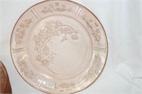 "Pink Glass ""Cabbage Rose Pattern"
