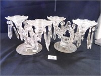 Candlestick Holders (2); w/prisms