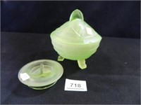 Spooner; Covered Green Dish